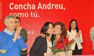 Acto del PSOE en el Delicatto: Francisco Ocón, Concha Andreu y Carmen Calvo | Foto: PSOE de La Rioja