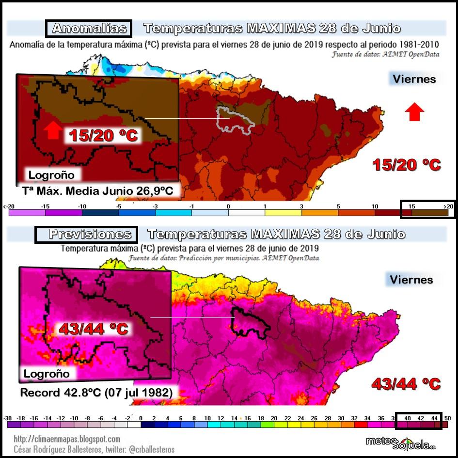 Anomalias y precisiones Temperaturas Máximas 28 de Junio Meteosojuela