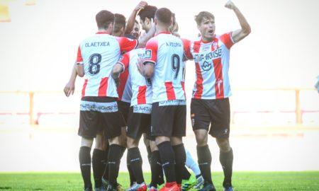La UD Logroñés celebra un gol frente al Tudelano | Foto: Eduardo del Campo